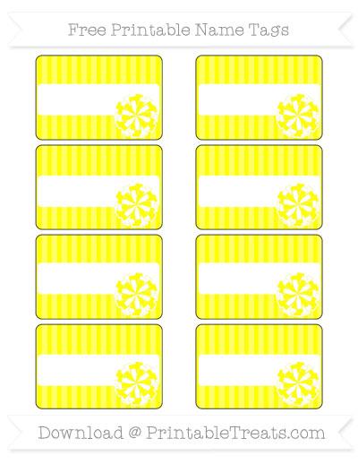 Free Yellow Thin Striped Pattern Cheer Pom Pom Tags
