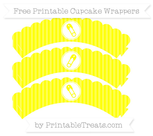 Free Yellow Thin Striped Pattern Diaper Pin Scalloped Cupcake Wrappers